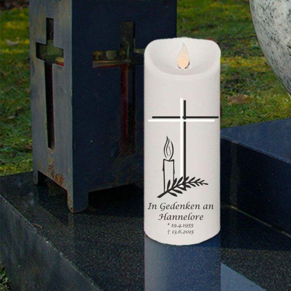 LED Kerze Twinkle Trauerkerze Kreuz mit Kerze