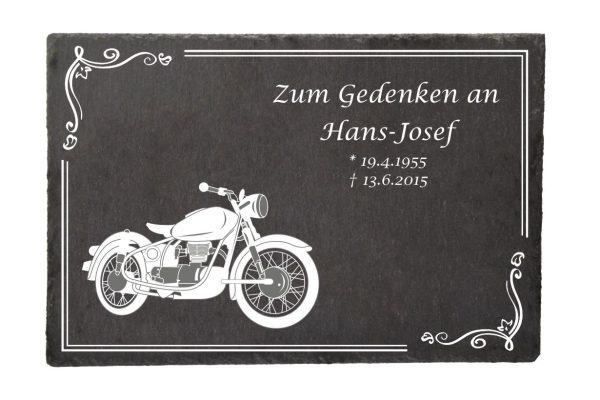 Gedenktafel Schieferplatte Motorrad