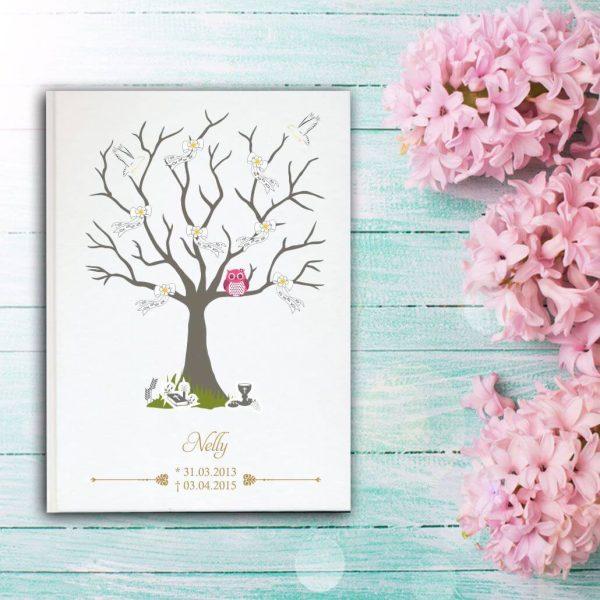 Fotoalbum Sternenkind Baum mit Schleifen und rosa Eule