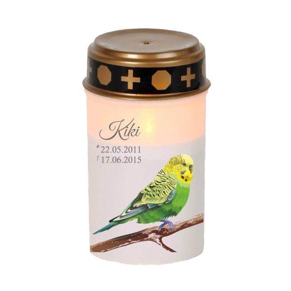 LED Grablicht Kerze Klein für Tiere Grüner Vogel