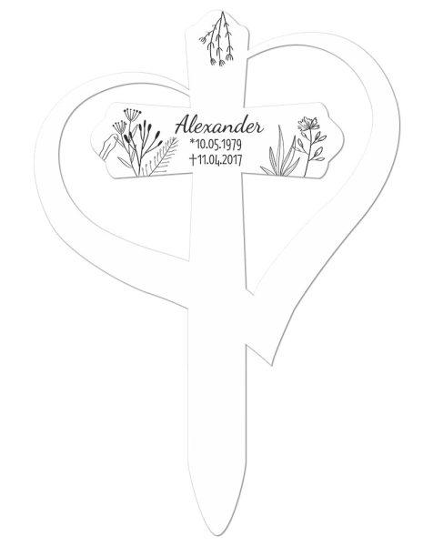 Grabkreuz mit Herz Gräser
