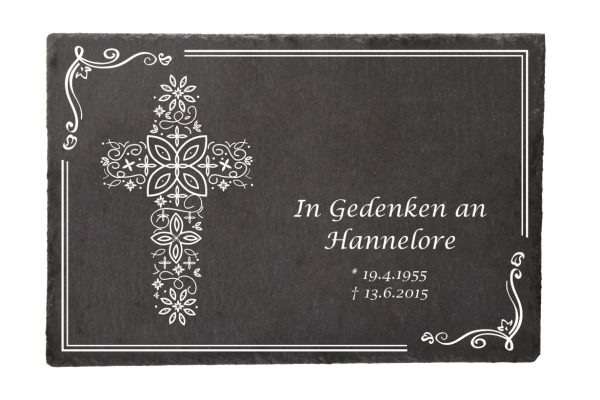 Gedenktafel Schieferplatte Kreuz aus Ornamenten