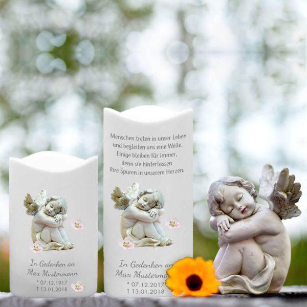 LED Kunststoff Kerze Weiß für Sternenkind Schlafender Engel