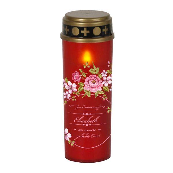 LED Grablicht Kerze Groß Blumenkranz