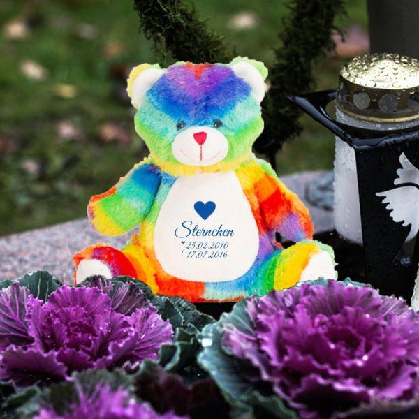 Plüschtier Kuscheltier Teddy Regenbogen für Sternenkind mit Herz