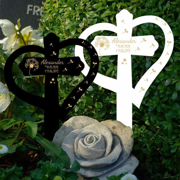 Grabkreuz mit Herz Pusteblume