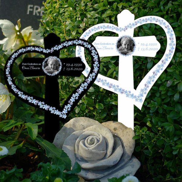 Grabkreuz mit Herz Vergissmeinnicht mit Foto