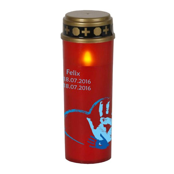 LED Grablicht Kerze Groß Sternenkind Handabdruck in blau