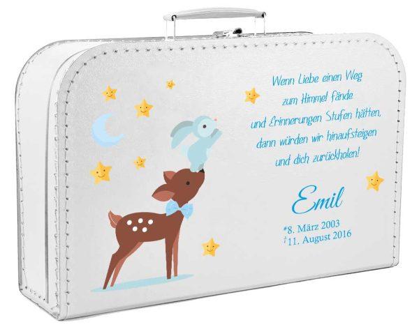 Koffer fürs Sternenkind Reh mit Hase in blau