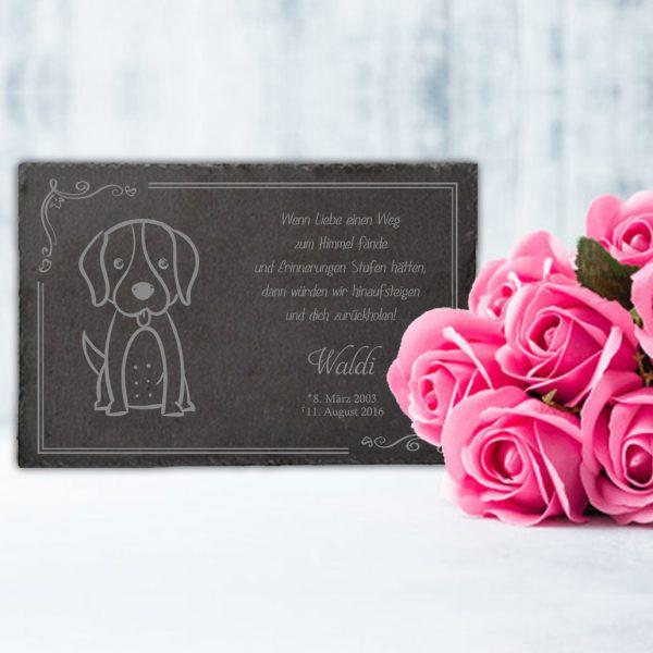 Gedenktafel fürs Tier Hund Silhouette