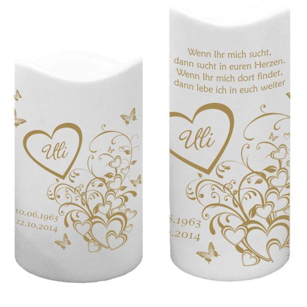 LED Kunststoff Kerze Weiß Trauerkerze Herzen mit Schmetterlingen