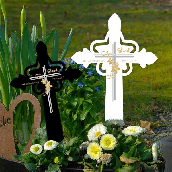 Grabkreuz mit Stern Kreuz mit Blumen