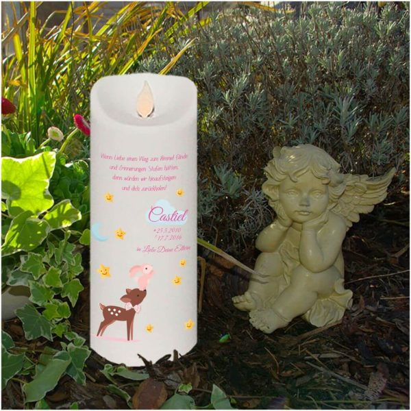 LED Kerze Twinkle Sternenkind Reh mit Hase in rosa