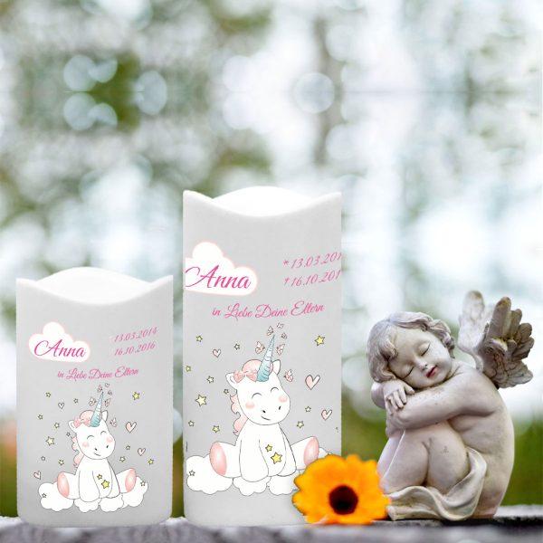 LED Kunststoff Kerze Weiß für Sternenkind Einhorn Cutie
