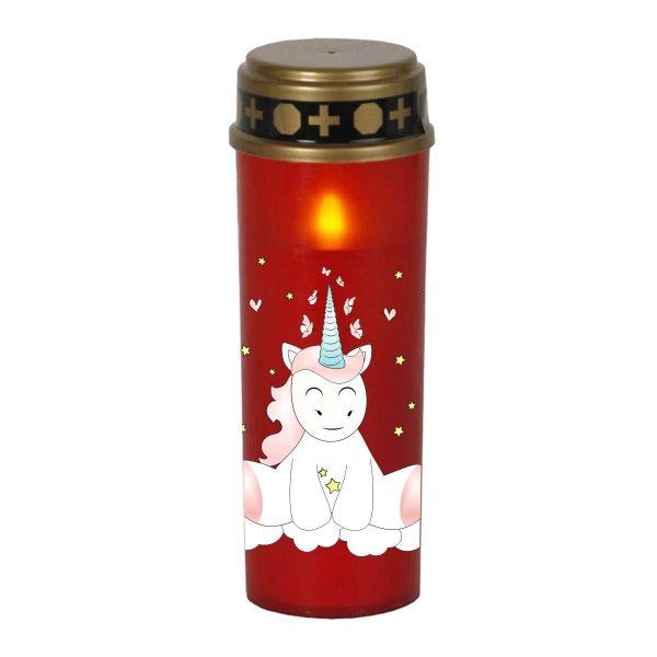 LED Grablicht Kerze Groß Sternenkind Einhorn Cutie sitzend von vorne