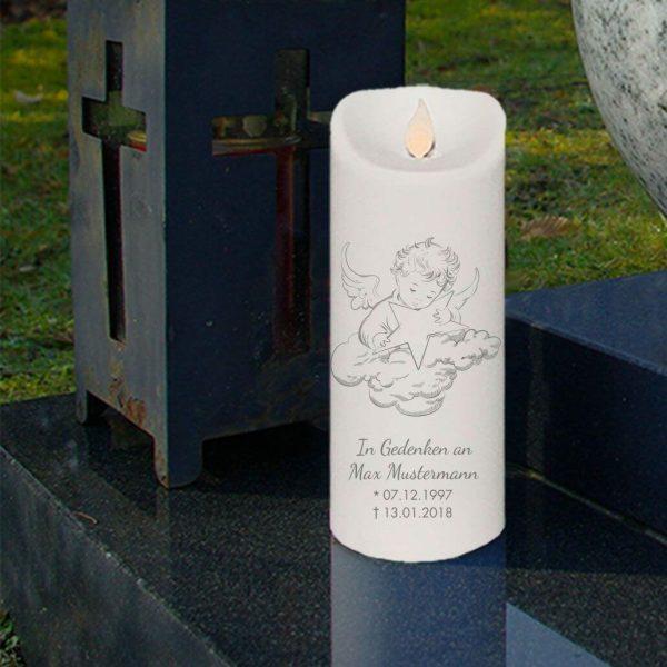 LED Kerze Twinkle Trauerkerze Engel auf Wolke