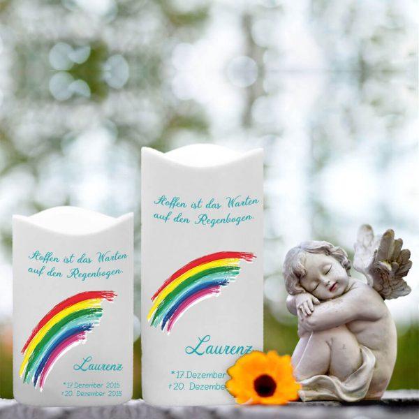 LED Kunststoff Kerze Weiß für Sternenkind Regenbogen