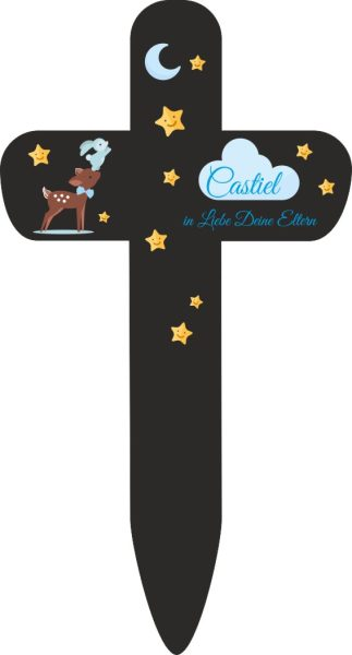 Grabkreuz Sternenkind Reh mit Hase in blau