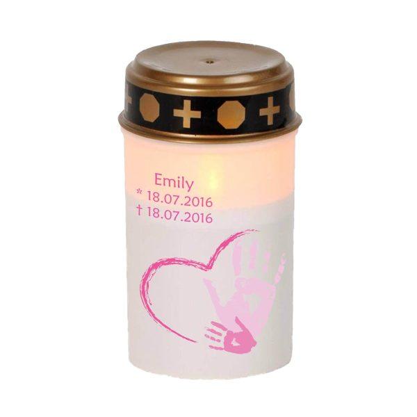 LED Grablicht Kerze Klein Sternenkind Handabdruck in gelb oder rosa