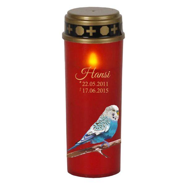 LED Grablicht Kerze Groß für Tiere Blauer Vogel