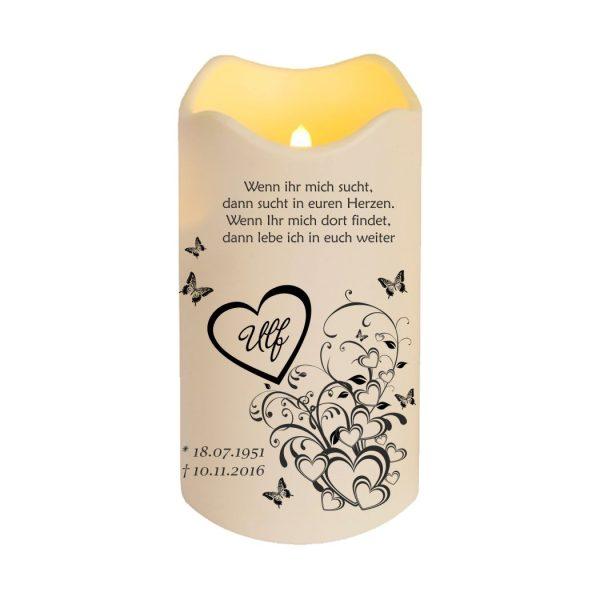 LED Kerze Trauerkerze aus Kunststoff Herzen mit Schmetterlingen