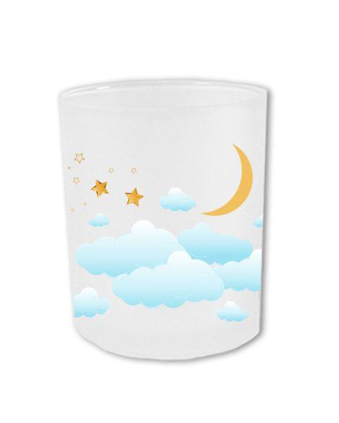 Teelichthalter fürs Sternenkind mit Wolkenhimmel
