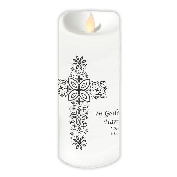 LED Kerzen Twinkle Trauerkerze Kreuz aus Ornamenten