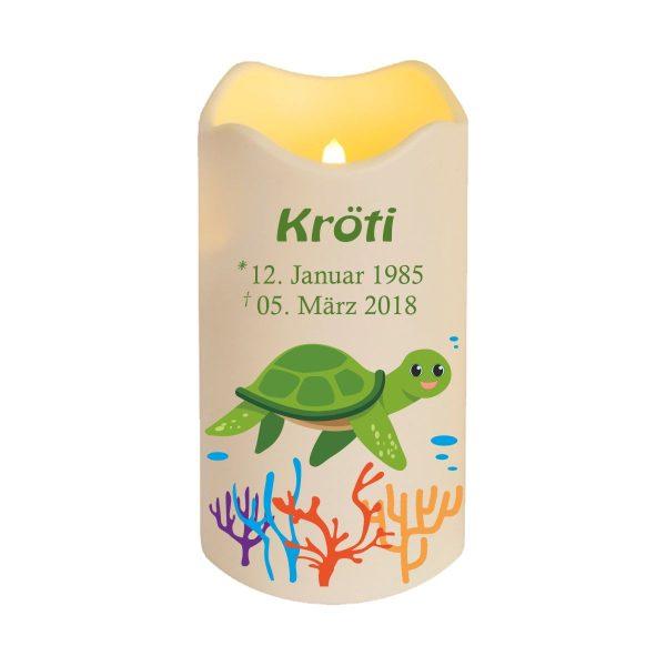 LED Kerze Trauerkerze aus Kunststoff für Tiere Schildkröte