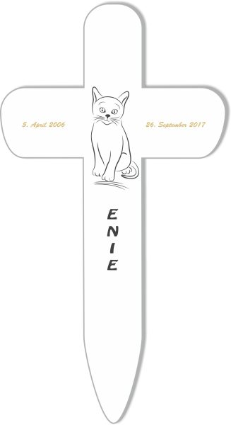 Grabkreuz fürs Tier Katze Silhouette