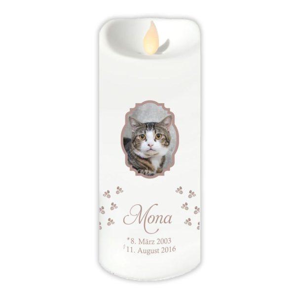 LED Kerze Twinkle für Tiere mit Foto im Rahmen und Pfoten