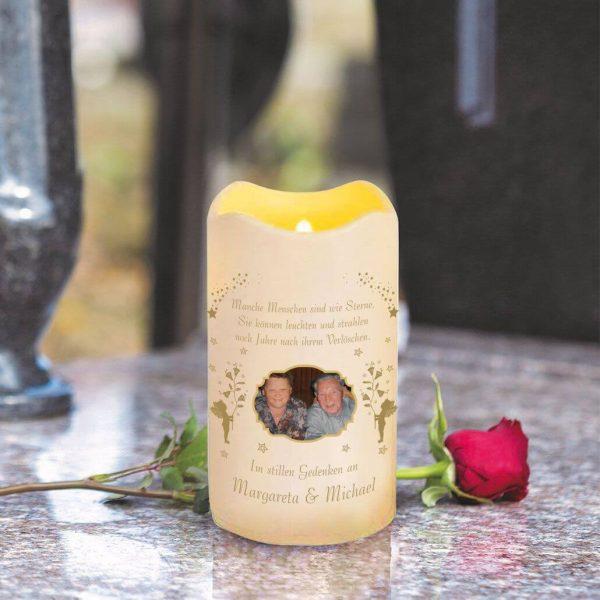 LED Kerze Trauerkerze aus Kunststoff mit Foto Engel