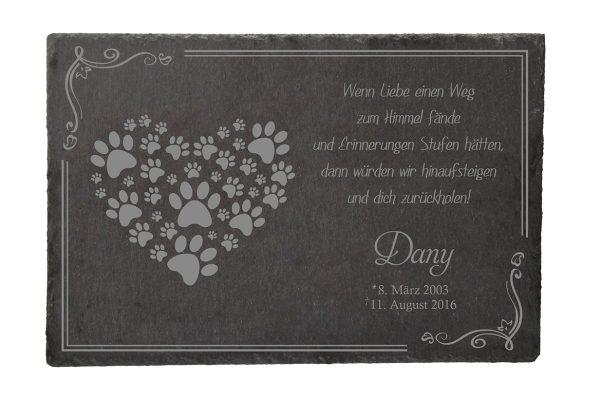 Gedenktafel fürs Tier Pfotenherz