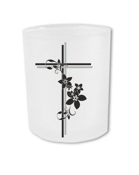 Teelichthalter zum Gedenken Kreuz mit Blumen und persönlichen Daten