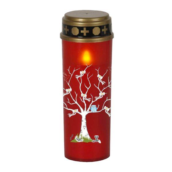LED Grablicht Kerze Groß Sternenkind Baum mit Schleifen und blaue Eule