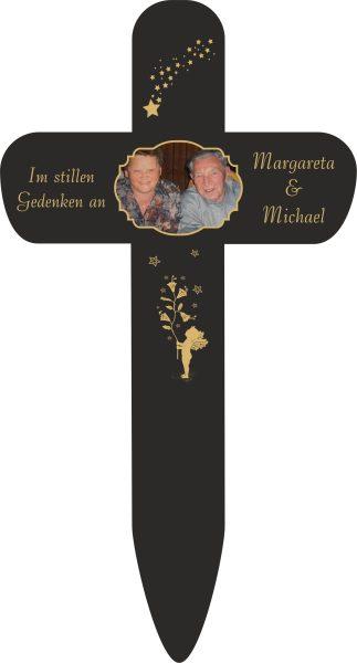 Grabkreuz mit Foto und Goldener Engel