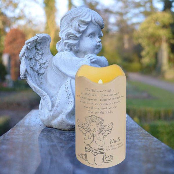 LED Kerze Trauerkerze aus Kunststoff Sternenkind Betender Engel