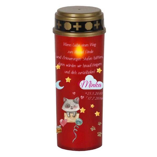 LED Grablicht Kerze Groß für Tiere Katze mit Wolke