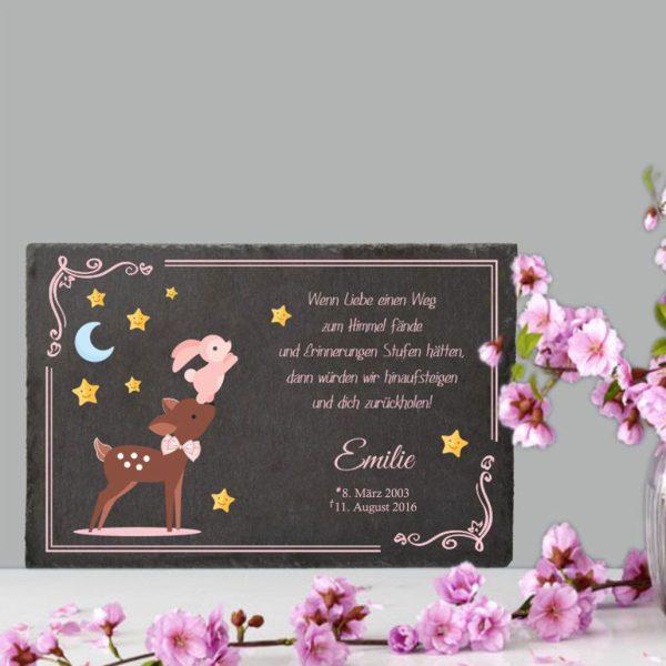 Gedenktafel Sternenkind Reh mit Hase in rosa